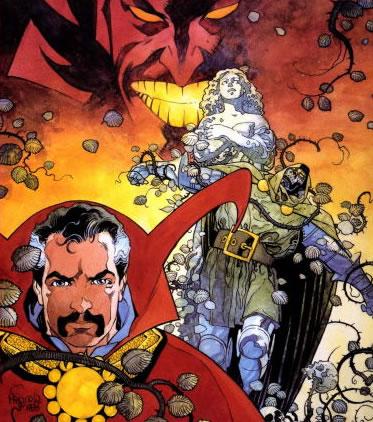 Doctor Extraño y Doctor Doom por Mike Mignola